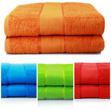 Neon Bath Sheet Towels 100% Cotton Luxury Soft 2 Pack in Orange, Blue, Lime, Red