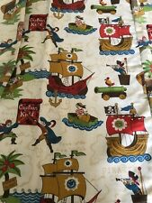 "Child's Vintage  PIrates  lined curtain panels. 27 x 81.5""  (4 available)"