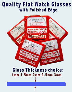 WATCH GLASS FLAT CRYSTAL, 1mm - 1.5mm - 2mm - 2.5mm & 3mm thick, 1st class post