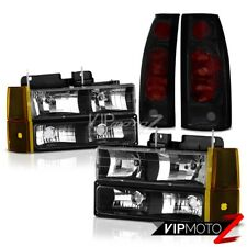94-98 GMC Sierra 1500 Inky Black Headlights Corner Dark Tinted Tail Lamps L+R