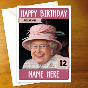 THE QUEEN Personalised Birthday Card - royal family queen elizabeth