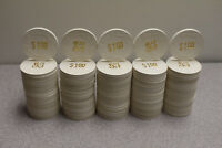 100 - $1 White Paulson Casino Poker Chips - Very good condition - WONT LAST