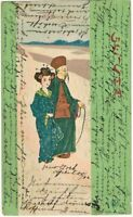Raphael Kirchner Art Nouveau Postcard Geisha and Old Man