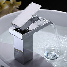 Modern Chrome Brass Waterfall Bathroom Basin Faucet Single Handle Sink Mixer Tap