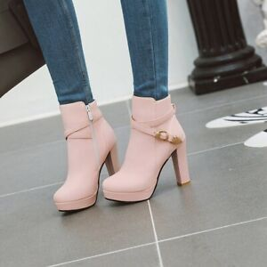 Trendy Womens Round Toe Buckle Strap Pumps High Heels Platform Ankle Boots Party