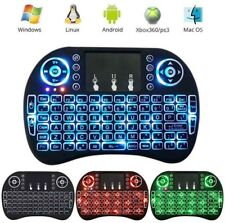 Mini Teclado Inalámbrico Retroiluminado Negro, Touchpad para PC, TV Box,