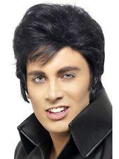 Official Elvis Short Black Wig 50s 60s 70s Teddy Boy Greaser Mens Fancy Dress