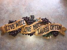 LIVE WELL LOVE MUCH LAUGH OFTEN WALL PLAQUE DECOR KITCHEN NEW GRAPES FRUIT
