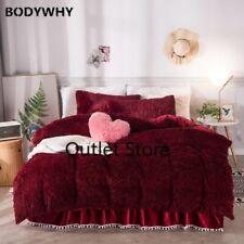 Luxury Plush Warm Duvet Cover Set 160X200cm Bedding Set Bedskirt Pillow Shams