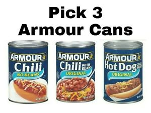Pick 3 Armour Cans: Chili No Beans, Chili With Beans or Hot Dog Chili Sauce