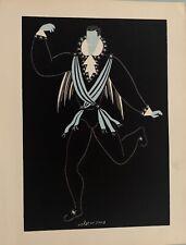 """HUGO JEAN """"ROMEO ET JULIETTE"""" VALET DE SCENE POCHOIR  EAU ET ENCRE GRASSE 1930"""