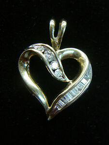 10K YELLOW GOLD HEART PENDANT W/ 1/4 CTW DIAMONDS - HAVE A LOOK