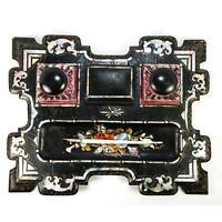 Antique Victorian Papier Mache Double Inkwell Desk Stand, Pen Tray, Pearl Inlays