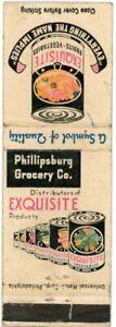 Phillipsburg Grocery Co. Distribute Exquisite Vegetables Vintage Matchbook Cover