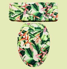 Haliconia Aloha Hawaii Island Jungle Bathroom Decor Toilet Seat Lid Cover Set