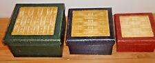 Primitive Country STACKABLE NESTING BOXES Set of 3 w/basket weave look on lids