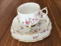 Vintage Colclough Trio 7471 - Roses and Purple Flowers
