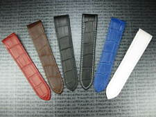 20 mm Leather Strap CARTIER SANTOS 100 Medium Case Watch Band M Red Blue White