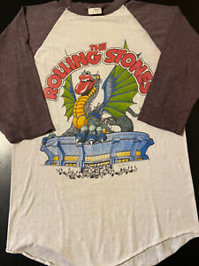 VTG 80s 1981 Rolling Stones Concert Tour Dragon Baseball Rock Sneakers T-Shirt