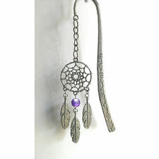 NATIVE AMERICAN DREAMCATCHER BOOKMARK PEWTER CHARM PENDANT AMETHYST GEMSTONE
