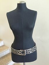 SUZI ROHER Antique Silver-tone Metal Black Stretch Belt