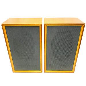 Beautiful Vintage EMI 92390CR Solid Wood Elliptical Speakers *Tested* FREE POST