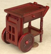 1:12 Scale Mahogany Colour Wooden 2 Tier Tea Serving Trolley Tumdee Dolls House