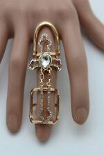 Metal Fancy Long Finger Iron Cross 7.5 New Women Ring Fashion Jewelry Bling Gold