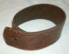 Handmade Leather Cuff Bracelet with post & hole closure - brown, simple design