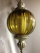 Nice Amber Glass UFO Mid Century Light Fixture