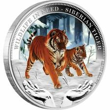 2012 $1 WILDLIFE IN NEED SIBERIAN TIGER 1oz SILVER PROOF COLOURED COIN ONLY