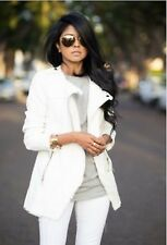 Zara White Biker Jacket With Leather Detail