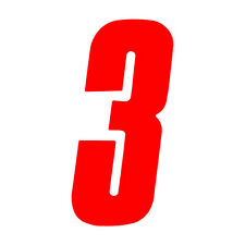 6 inch tall Red Race Number 3 racing numbers decals