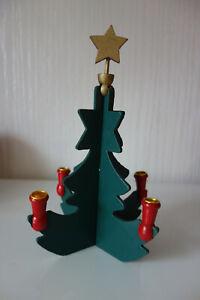 Weihnachtsbaum grün Kerzenhalter zum zusammen stecken Holz Erzgebirge DDR