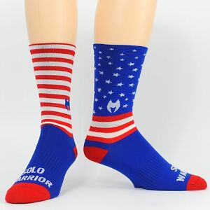 Solo Warrior Men's Cycling Compression Socks, Size 8-12, American Flag Design