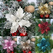 10X Christmas Large Poinsettia Glitter Flower Tree Hanging Party Xmas Decor Gift
