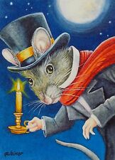 ACEO Limited Edition Print Dickens Christmas Mice No. 2 Scrooge by J. Weiner