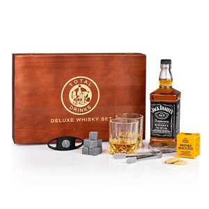 JACK DANIEL 70CL WHISKY GIFT BOX WITH ACCESSORIES & SAVOURY BISCUITS