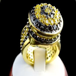 Yellow Gold 2 Tone Finish Black & Yellow Lab Simulated Diamond Ring Band