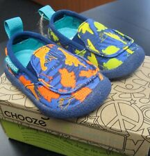 "NEW CHOOZE SHOES BOYS SCOUT SLIP ON SHOES IN ""DINOSAUR"" PATTERN SZ 4"