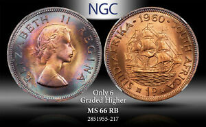 1960 SOUTH AFRICA 1 PENNY NGC MS 66 RB ONLY 6 GRADED HIGHER ***TONED***