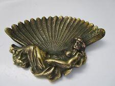 ancien vide poche en bronze art nouveau-coquille-femme évanescente
