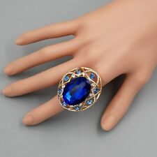 18K Gold Plated GP Blue Crystal Rhinestone Wedding Adjustable Ring 00063 Oval