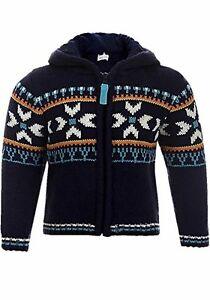 BABALUNO boys kids baby  hooded jumper sweater 0-3-6-9- 12-18-24 blue fair isle