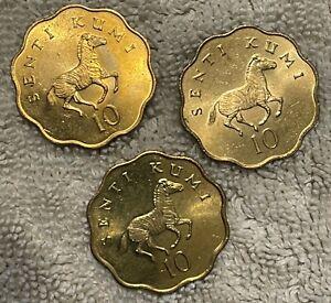 TANAZIA (3) 10 SENTI COINS W/ ZEBRAS 1977, 1981, 1984 GREAT CONDITION A-38