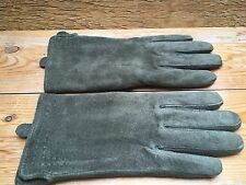 Vintage Style Ladies Green Pig Suede Leather Gloves/Pia Rossini/Retro 40's Look