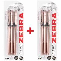 Zebra Z-Grip Classic Ballpoint Pens - Rose Gold - Black Ink - 6 Pack