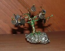 """Handcrafted Wire & Bead Bonsai Money Tree on Pyrite Base   (3"""" Tall)"""