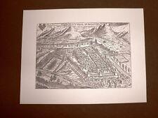 Antica veduta di Belluno o Cividal di Belluno Incisione del '600 Ristampa