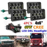 "4pcs 60W 4x6"" CREE LED DRL Headlights Hi/Lo Beam for Toyota Chevy Kenworth Truck"